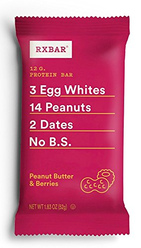 RXBAR Real Food Protein Bar, Peanut Butter & Berries, Gluten Free, 1.83oz Bars, 12 Count