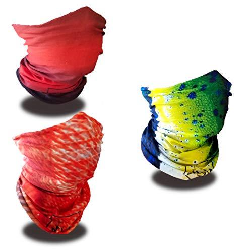 Volk Outdoors, Pack of 3 Designs Fishing face Masks,Hunting face Masks, SPF 50+ UV Blocking, Neck Gaiter, Tubular Bandanas, Camo face mask, Microfiber, Breathable -