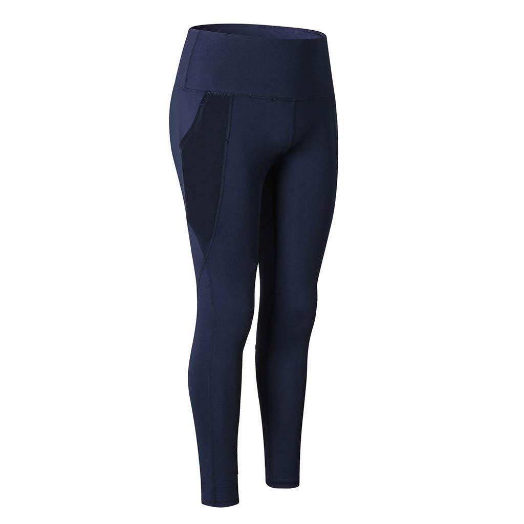 NUWFOR Women's Fashion Workout Leggings Fitness Sports Running Yoga Athletic Pants(Navy,M US Waist:29.9'')