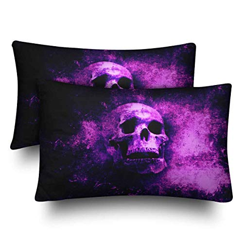 a PIN Halloween Scary Skull Purple Pillow Cases Pillowcase Standard SizeSet of 2, Rectangle Pillow Covers Protector for Home Couch Sofa Bedding Decorative50.8x76.2cm -