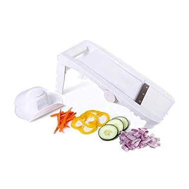 Kitchen + Home Mandoline Slicer - All Purpose Adjustable 5 in 1 Slicer, Julienne Slicer, Waffle Cutter and Safety Holder