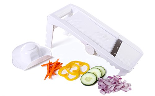 Kitchen + Home Mandoline Slicer - All Purpose Adjustable 5 in 1 Slicer, Julienne Slicer, Waffle Cutter and Safety Holder