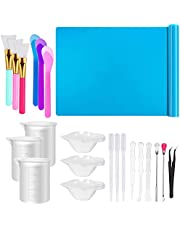 Resin Tools Set 21pcs, A3 Large Silicone Sheet, 100 ml Measuring Cups, Silicone Mixing Cups, Silicone Brushes Stir Sticks Mixing Spoons for Epoxy Resin Crafts Painting (Blue)