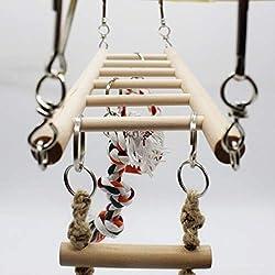 MDSTORY Bird Toys -Bird Solid Wood Climbing Ladder Swing Chew Toy Parrot Birdcage Perch - Burlywood