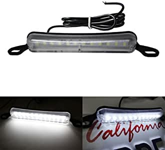 iJDMTOY Universal Fit Xenon White 12-SMD License Frame Mounting LED License Plate Lamp For Any 12V Car SUV Truck Van RV