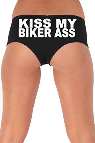 [Women's Juniors White Kiss My Biker As Booty Shorts: BLACK MEDIUM] (Biker Babe Sexy Costumes)