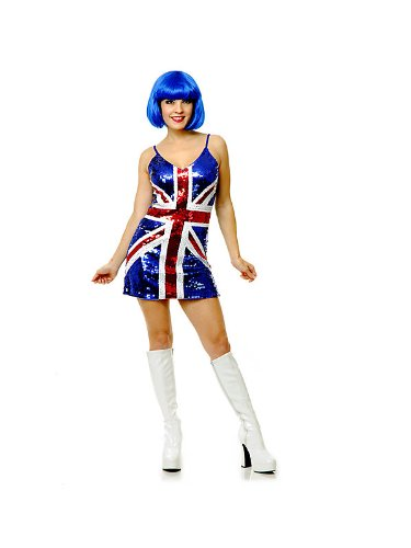 (Charades British Flag Sexy Adult Sequin Dress)