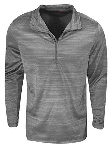 Hawke & Co.- Shadow Stripe 1/4 Zip Fleece Pullover Frost Size Large (Fleece Stripe Zip)