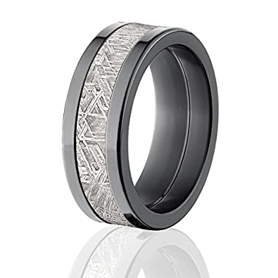 8mm wedding rings w meteorite inlay usa made meteorite bands - Meteorite Wedding Ring