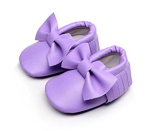 AngelaKerry - Zapatos primeros pasos de Otra Piel para niño morado