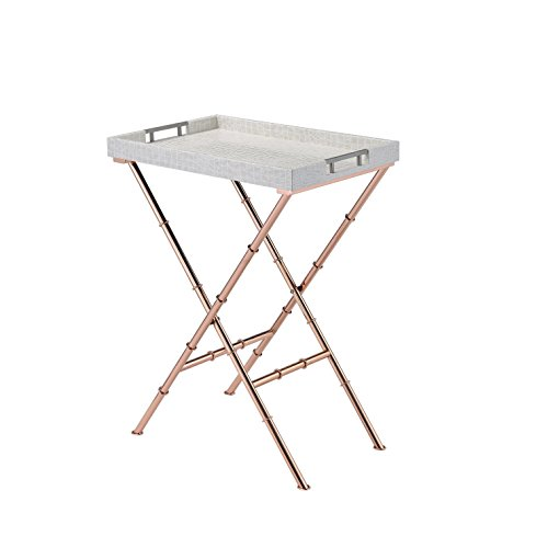 Acme Furniture Acme 98276 Lajos Tray Table, Ivory Crocodile & Rose Gold, One Size Review