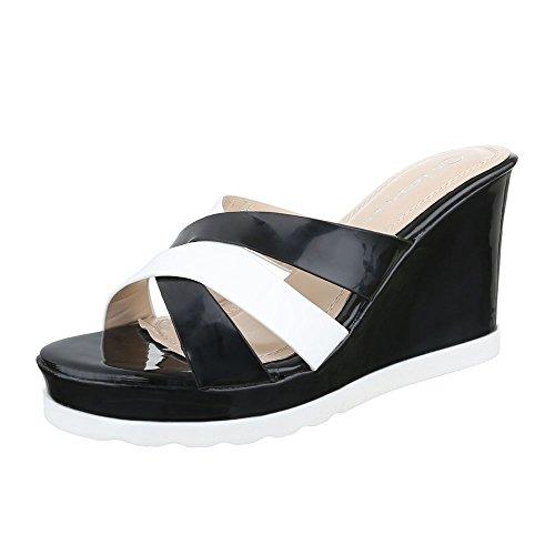 Ital-Design - zapatillas de baile (jazz y contemporáneo) Mujer negro blanco