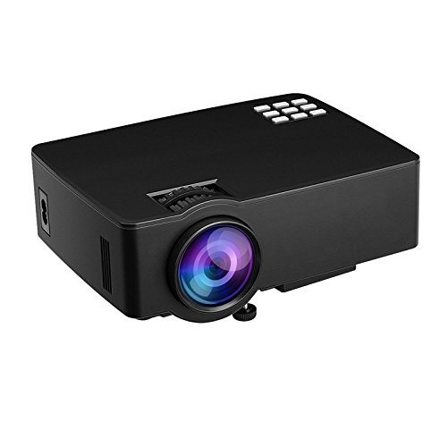 HTLL Mini Video Projector Portable Multimedia Home Cinema 1200 Lumens LED Projector For Home Entertainment ,Party and Games support 1080p Laptop iPad iPhone Android Smartphone by HTLL