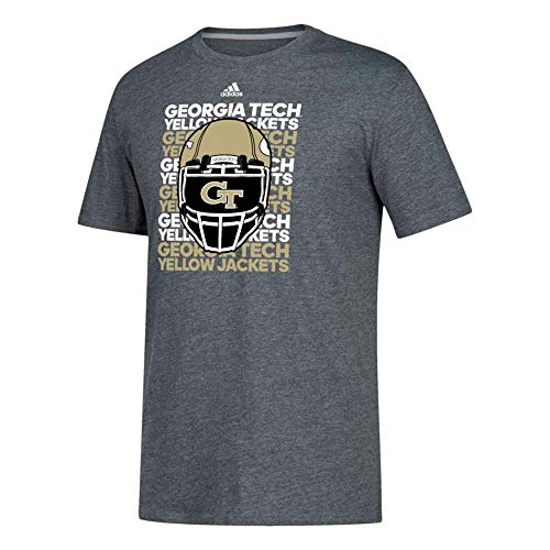 adidas Georgia Tech Yellow Jackets NCAA Men's Grey Football Team Helmet Climalite Performance T-Shirt (Medium)