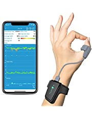 Wellue Wrist Wearable Sleep Monitor - Bluetooth Pulse Meter Health Tracker   Overnight O2 Saturation Level and Heart Rate, Smart Vibration & Audio Alert, Finger Ring with Free APP & PC Report