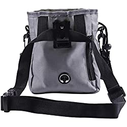 FENICAL Dog Treat Pouch for Training Pet Waist Belt Bag Case Dog Poop Bag Dispenser (Gray)