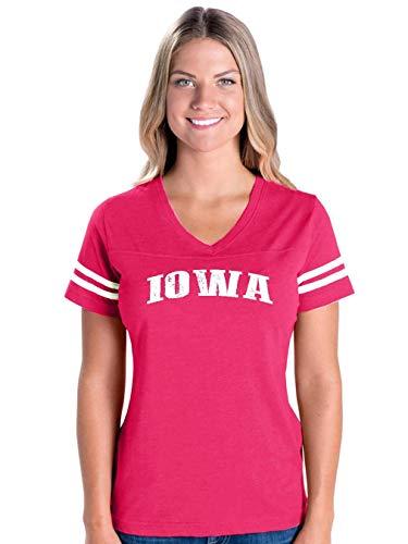 Mom`s Favorite Iowa State Flag Traveler`s Gift Women's Football V-Neck Fine Jersey Tee (MHTP) Hot Pink -