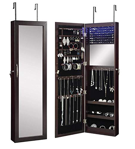 Abington Lane Over The Door Jewelry Armoire - Lockable Wall Mounted Organizing -