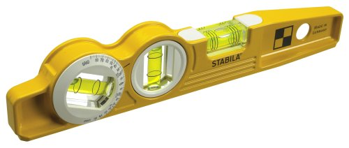 Stabila 25360 Die Cast Magnetic Torpedo with 360-degree vial and V-groove - Diecast Magnetic Torpedo Level