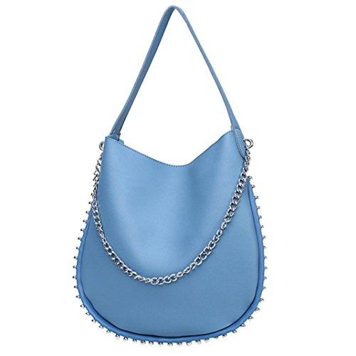 zarupeng-bolsas Crossbody del cuero de los remaches de la vendimia de las mujeres bolsos de hombro del color puro Azul