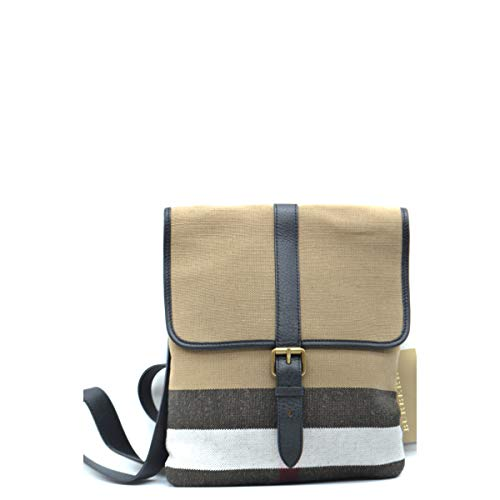 BURBERRY Men's Everson Beige Canvas Plaid Check Messenger Crossbody Bag ()