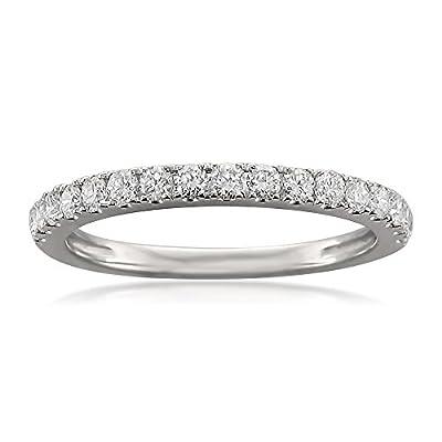 14k White Gold Round Diamond Bridal Wedding Band Ring (1/2 cttw, H-I, VS2-SI1)