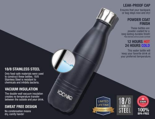 ICONIQ Pop Up Straw Cap for 17 Ounce Insulated Water Bottles