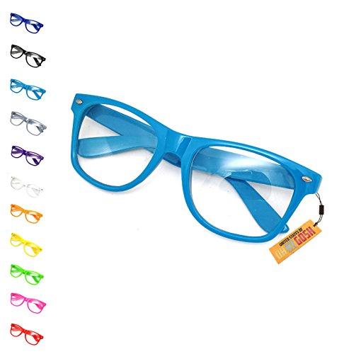 United States of Oh My Gosh Costume Nerd Glasses - 11 Colors Men, Women, Children #1 Glasses US of OMG (Light Blue)
