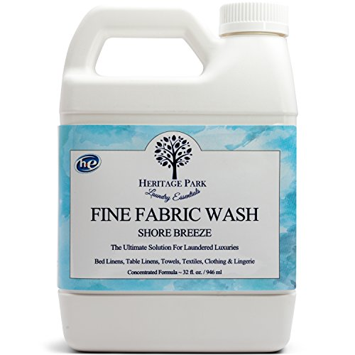 Heritage Park HE Laundry Detergent - Shore Breeze Scent / 32floz. Bottle - Powerful Stain Remover Yet Gentle On Fabrics, Dye Free for Sensitive Skin Allergies Wash Delicates, Linens, Lingerie & Silk - Fine Linen Wash