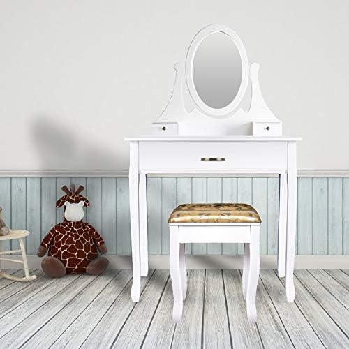 3 Tiroirs et 1 Tabouret CCLIFE Coiffeuse Table de Maquillage moderne avec 1 Miroir Ovale Couleur:Blanc