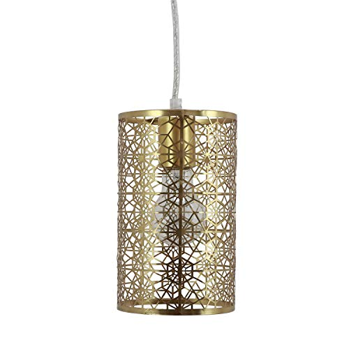 (Decor Therapy CH1831 Lucy Laser Cut Plated Metal Pendant, 6x6x11, Brass)