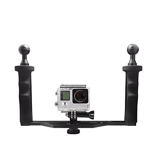 Vicdozia Universal Aluminum Metal Handheld Stabilizer Hand Grip Underwater Mounting Tray for GoPro Hero 6, Hero 5, Session 4S 4 3+ 3 Under Water Photography Dome Port Lens Accessory