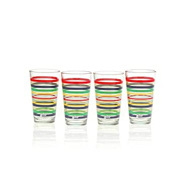 Fiesta Cobalt Stripe 16-Ounce Tapered Cooler Glass (Set of 4)