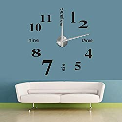 Chinatera Modern Mute DIY Large Wall Clock 3D Sticker Home Office Decor Black Gift