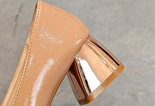con superficiale tacco alto spessore square albicocca di colore cm tacco 5 KOKQSX moda wild medio 39 alla Cw4q4O