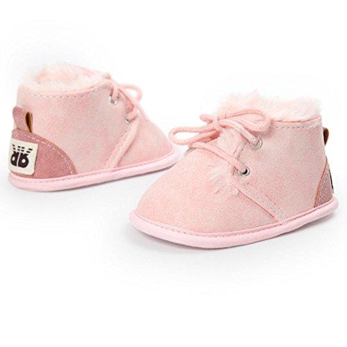 HUHU833 Kinder Mode Mädchen Schuhe Anti-Rutsch Soft Sole Baumwolle Kleinkind Schuhe Säuglingsschuhe(0~18 M) Rosa