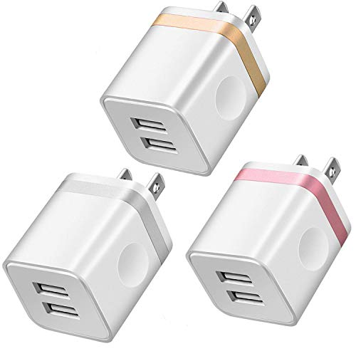 LEEKOTECH USB Wall Charger, [UL Certified] 3-Pack 2.1A/5V USB Plug Dual Port Power Adapter Charging Block Cube Box Compatible with Phone XS/XR/XS MAX/X/8/7/6 6S Plus, Samsung, Android, More Phones