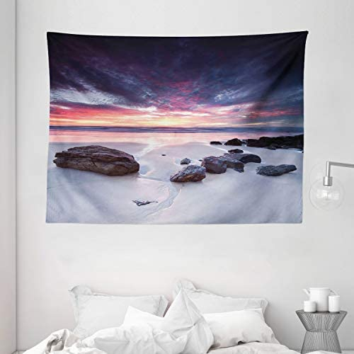 Ambesonne Landscape Tapestry, Australian Seascape at Dawn Sunset Rocky Beach Sand Photo Art Print, Wide Wall Hanging for Bedroom Living Room Dorm, 80 X 60 , Cadet Blue Coral Cream