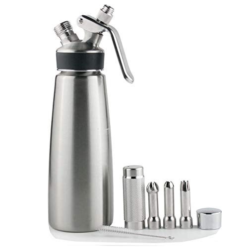 N2O Whipped Cream Dispenser Stainless Steel Gifted with Brush & Decorating Nozzles-Gourmet Cream Whipper(Black Silicone Sleeve 500ML)