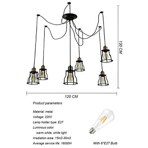 NANGE Vintage Chandelier,Edison Multiple Adjustable DIY Metal Wire Cage Pendant Lighting,Modern Chic Industrial Dining Light,E27(Without Light Source) (Color : Warm White, Size : AC 220V) by NANGE (Image #1)