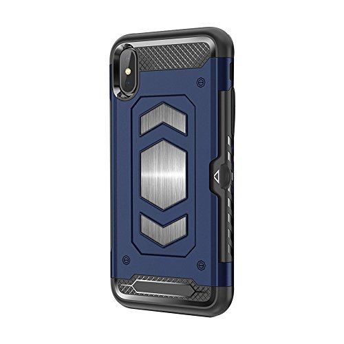 iPhone X CaseMagnetic Dual Layer Wallet Card Slot Kick-Stand Armor Series Hybrid Case with Card Slot Slide&Magnetic car Mount (iPhone 7 Plus/8 Plus, Blue)