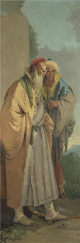 'Giovanni Battista Tiepolo-Two Men In Oriental Costume From Four Decorative Scenes,about 1757' Oil Painting, 18x54 Inch / 46x138 Cm ,printed On High Quality Polyster Canvas ,this High Quality Art Decorative Canvas Prints Is Perfectly Suitalbe For Kitchen Gallery Art And Home Decoration And Gifts