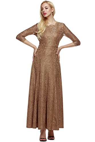 ANGVNS Women Lace 2/3 Sleeve Bridesmaid Homecoming Gown Dress, Size X-Small, Brown