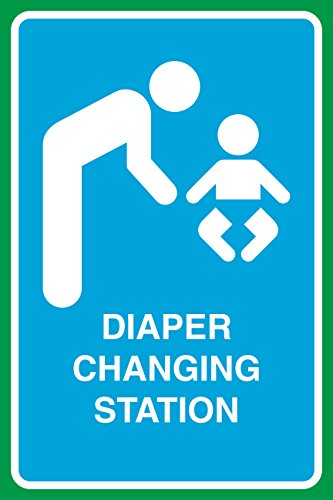 Diaper Changing Station Print Parent Child Baby Picture Bathroom Restroom Business Office Sign
