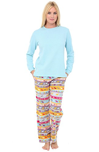 - Alexander Del Rossa Womens Flannel Pajamas, Knit Top Cotton Pj Set, Large Nordic Christmas Reindeers Snowflakes (A0700Q64LG)