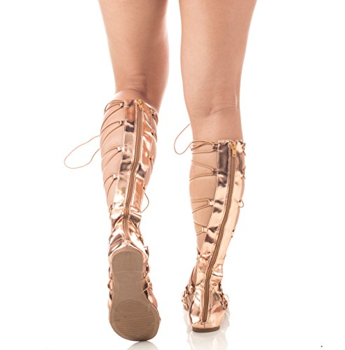 Soho Shoes Women's Knee High Tall Lace Up Roman Gladiator Sandals Rosegold