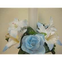 "Lot of 3 LITE BLUE Rose & Lily Silk Decoration Flowers Artificial Arrangement 3"" Candle Rings Artificial 693-LBL"