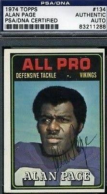 Alan Page Signed 1974 Topps Autograph Authentic - PSA/DNA Certified - Football Autographed Rookie Cards by Sports...