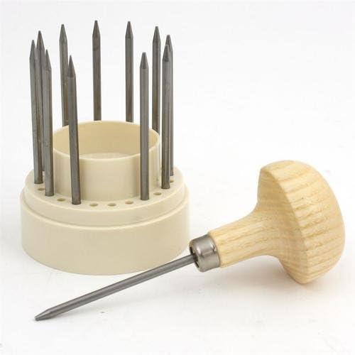 リベットマーキング ホビー用工具 球ぐり工具〈木柄付き12本組セット〉
