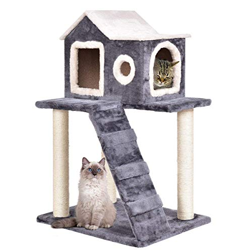 Tangkula Cat Tree, Multi-Level Kitty Tower Condo, Lovely Pet Furniture with Scratching Posts and Ladder, Pet Play Toy House, Activity Centre Cat Tree - for Kittens, Cats and Pets (36